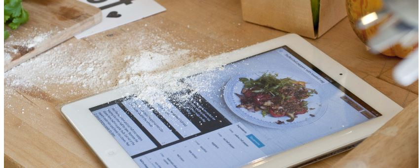 technology in the kitchen, tablet, ipad