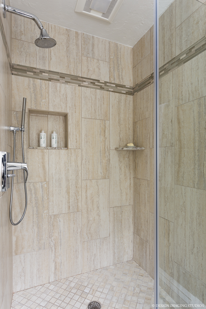 bathroom remodeling, A Masters Touch Design Build shower design with shampoo niche.