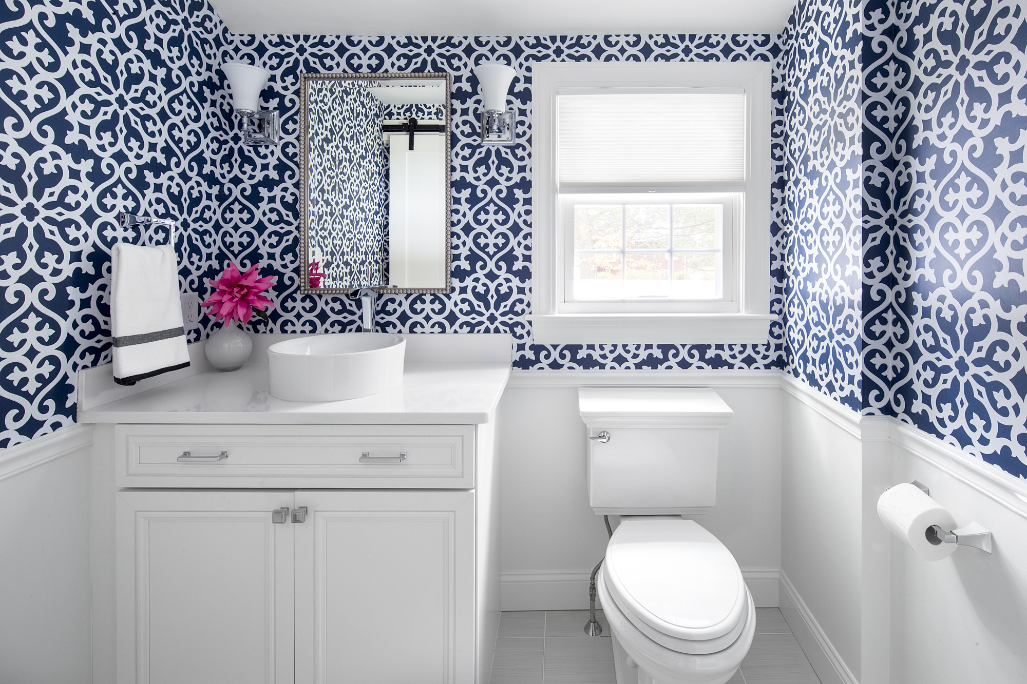 Blue Wallpaper in Bathroom