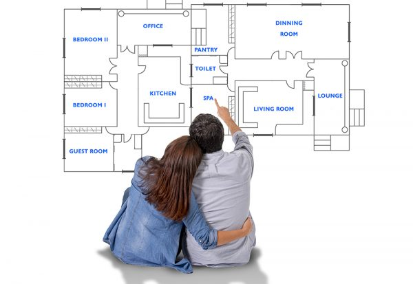 Young couple dreaming of new house